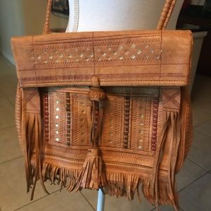 Aztec All  Leather Crossbody Bag w/ Fringes